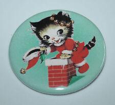 KITTEN AS SANTA CLAUS PIN BUTTON Christmas Vintage Holiday Cat Art