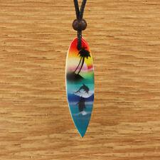 Wood Surfboard Pendant Necklace Surf Mens Womens Blue Green Beach Dolphin