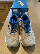 Mens Used Brooks Adrenaline Gts 20 Grey/Blue/Navy Size 10 D Medium 110307 1D 051