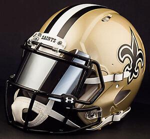 ***CUSTOM*** NEW ORLEANS SAINTS Full Size NFL Riddell SPEED Football Helmet