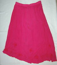 BOBBIE BROOKS Embroidered SWING Peasant SKIRT long WOMENS Hot Pink Medium 8-10