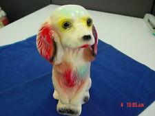 Vintage Chalkware Bank Figurine Dog Spaniel Puppy Carnival Unused Old