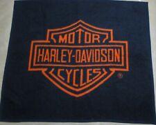 Vintage 70's Harley Davidson Couch Throw Blanket Black Orange 1970's