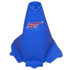 """Gear Stick Gaiter For Ford Ka 1994-2008 Leather Blue """"ST"""" Red Embroidery"""