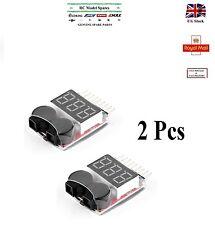 2Pcs Voltage Buzzer Alarm Indicator 1-8S Lipo LiFe LiMn Li-ion Battery Monitor