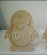 MDF CRAFT SHAPE. WOODEN 3D PENGUIN 15MM FREE STANDING 15CM HIGH