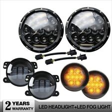 "7'' LED Headlight+Smoke Front Turn Signal Lamp+4"" Fog Light for Jeep Wrangler JK"