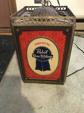 Vintage Pabst Blue Ribbon Hanging Spinning Rotating Electric Light Lamp Sign Pbr
