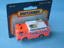 Matchbox Mack Auxiliary Power Truck Fire rescue Neon Red Unit 2 in BP Toy 75mm