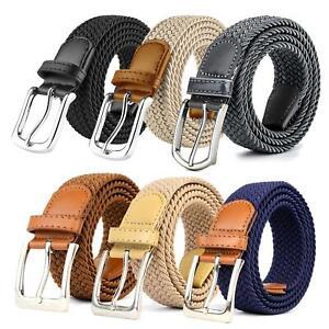 Stretchy Belt, Men Women Casual Belt for Jeans, Woven Belt Braided, Steel Buckle