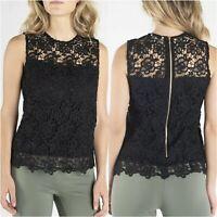 NEW Nanette Lepore Lace Top Womens Sz Small Black Floral Sleeveless Scallop Hem