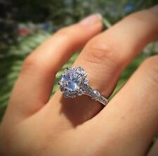 925 Silver Women Moissanite Flower Rings Wedding Engagement Jewelry Lot SZ 6-10