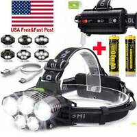 350000LM 5X T6 LED Headlamp Rechargeable Headlight 18650 Flashlight Head Torch^