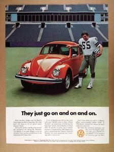 1974 VW Volkswagen Beetle Lee Roy Jordan orange car photo vintage print Ad