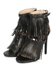 Womens Size 10 High Heel Stiletto Pump Fringe Tassel Ankle Strap Open Toe Sandal