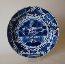 "18th Century DELFT PLATE ""WALKING COUPLE"" (10 ins)"