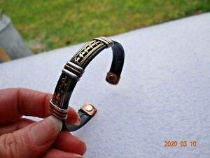 LEATHER PURE COPPER MAGNETIC CUFF BRACELET  ONE SIZE PROTECTION EMF JEWELRY