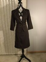 Womens Courtenay 2 Piece Brown Suit Skirt/Jacket Size 8