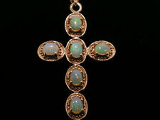 P009- Lovely Genuine 9ct SOLID Rose  Gold NATURAL OPAL CROSS Pendant