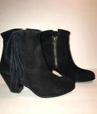 b4ed2b4e852ebe Sam Edelman Louie Fringed Booties Black Suede Women s Size 7.5 M Zip Ankle  Boots