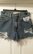 """Womens 33"""" button fly GAP High Waisted Vintage Denim Distressed Shorts"""