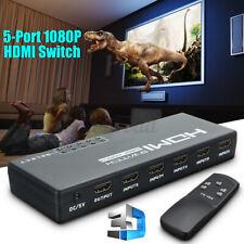 1080p 5 puertos 4K HDMI Splitter Hub Selector Conmutador Interruptor Control Remoto Infrarrojo Para HDTV nos