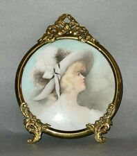 Antique 1900 Victorian Lady Portrait Painting on Porcelain in Round Brass Frame