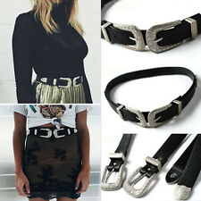 Fashion Women Lady Vintage Metal Boho Leather Double Buckle Waist Belt Waistband