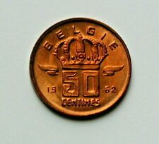 1962 BELGIUM (Belgie) Coin - 50 Centimes - UNC - red-lustre - mine worker