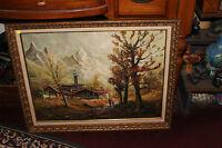 Vintage Impressionist Oil Painting Village Under Mountains People Walking Signed