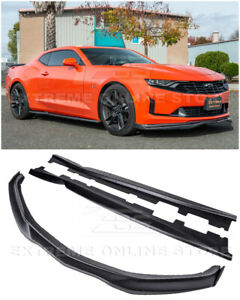 T6 Style Front Lip CARBON Side Splitter & Side Skirts For 19-Up Camaro RS & SS
