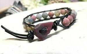 Women's Leather Wrap Bracelet w/ Genuine RED SEA Glass Button & LOVE Beads!