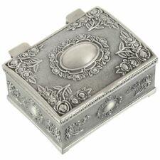 Vintage Black Silver Jewelry Necklace Bracelet Box Storage Organizer Holder R1M3