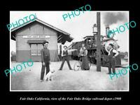 OLD LARGE HISTORIC PHOTO OF FAIR OAKS CALIFORNIA, THE BRIDGE RAILROAD DEPOT 1900
