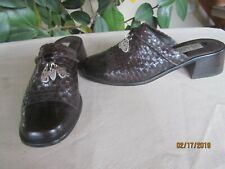 "NICE BRIGHTON ""Franki"" Brown Braided Leather Slide-in Mule Shoes Size 8"