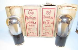 Pair-1925 RCA Globe UX-201-A 01A amplifier tubes in boxes. TV-7 test NOS.