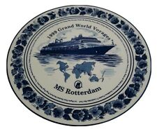 BLUE DELFT Holland America 1999 Grand WORLD Voyages MS ROTTERDAM Ship Plate