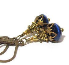 CRYSTAL Earrings ~ COBALT BLUE Tiny dangle light reflecting glass BRONZE
