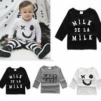 4 Sizes Toddler Clothes Baby Kids Boys Girls Casual Long Sleeve T-shirt Tops MAD