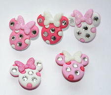 Minnie Rhinestone Heads Shank Buttons / Dress It Up Disney # 8955 / Glitter Bows