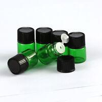 20/50/100Pcs 1ml  Tiny Small Glass Empty Oils Bottles Vial With Black Screw Cap