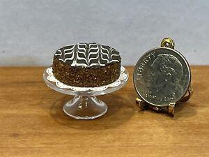 VTG Artisan Fancy Truffle Cake On Glass Stand Dollhouse Miniature 1:12