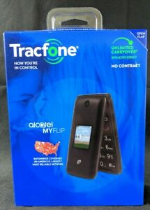 New Tracfone Alcatel MYFLIP 4G Prepaid Flip Cell Phone 4GB Black No Contract New