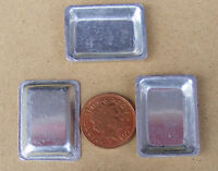 1:12 Scale 3 Small Shallow Metal Baking Tin Trays Dolls House Food Accessory Sh