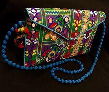 CL5B- vintage Envelope Clutch Mirror Bag Blue Sling Bag-Indian Wedding Accessory