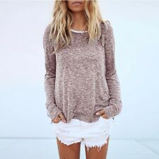 Women Loose Casual Shirt Long Sleeve Round Neck Top Blouse Tee Shirt Sweater l2
