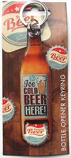 Ice Cold Beer BOTTLE OPENER KEYRING Metal Retro Design