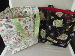 2 Handmade Fabric Gift Bags Totes Mary Engelbreit Prints Handles Re-Usable