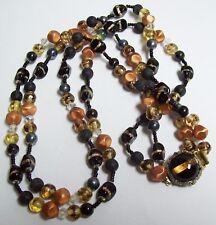 Gorgeous Vintage Black FOIL Glass & More Dbl Strand Necklace