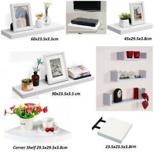 White High Gloss Floating Shelf Display Unit Media Corner Xbox Storage Bookcase
